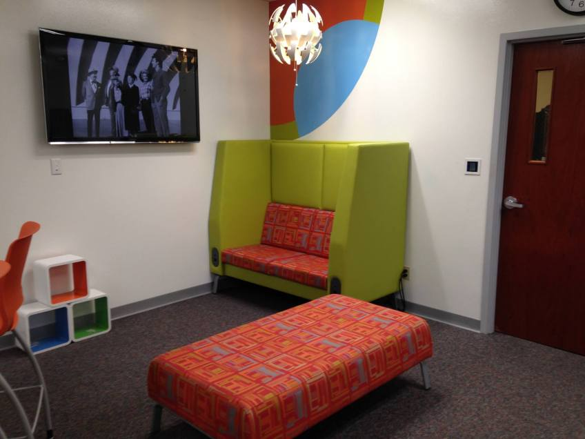 Learning lounge furniture, with power for laptops and tablets.
