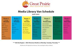 2018-19 GPAEA Van Delivery Schedule